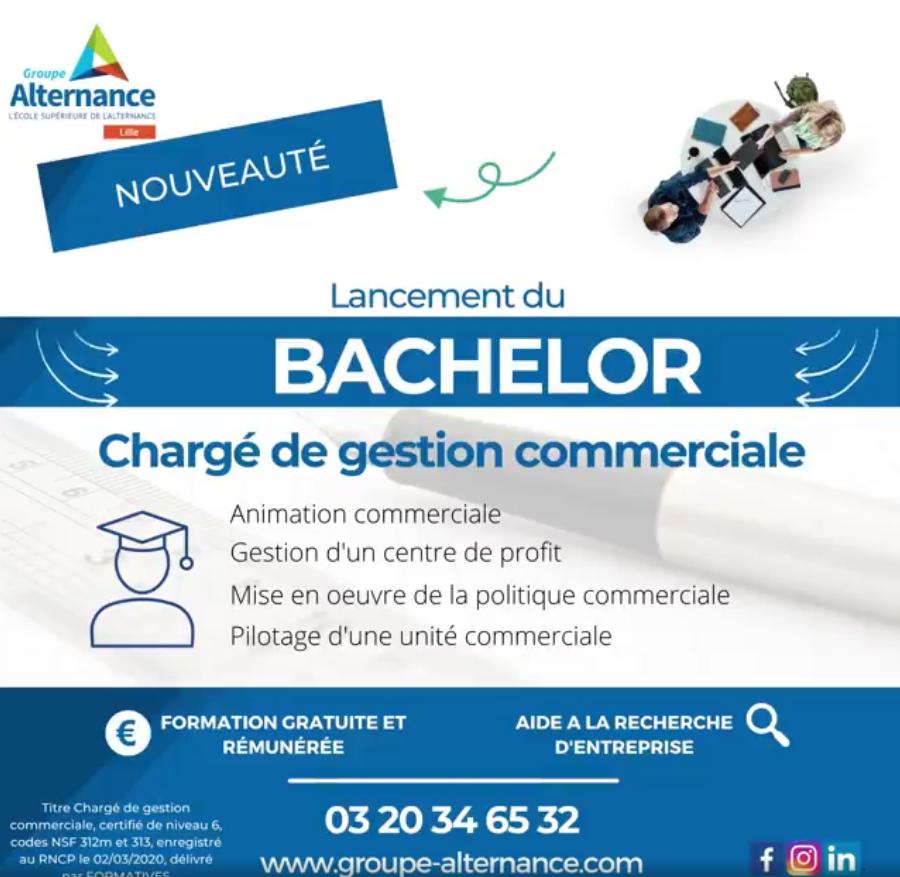 Nouvelle formation Bac+3 Groupe alternance Lille Bachelor chargé gestion commerciale